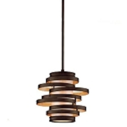 "Vertigo Collection 1-Light 14"" Bronze with Gold Leaf Mini Pendant with Caramel Ice Diffuser 113-41"