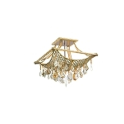 "Barcelona Collection 4-Light 16"" Silver and Gold Leaf Semi-Flush Mount with Italian Crystal Drops 125-34"