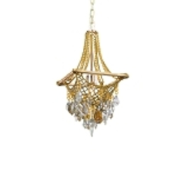 "Barcelona Collection 1-Light 22"" Silver and Gold Leaf Pendant with Italian Crystal Drops 125-41"