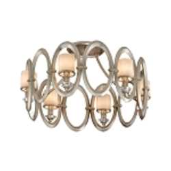 "Embrace Collection 6-Light 24"" Satin Silver Leaf Semi-Flush Mount with White Pearl Glass 134-36"