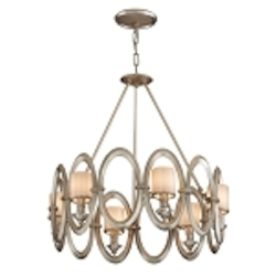 "Embrace Collection 6-Light 24"" Satin Silver Leaf Chandelier with White Pearl Glass 134-46"