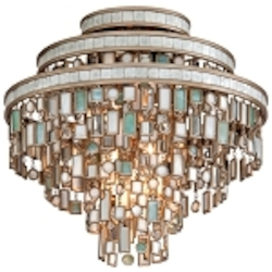 "Dolcetti Collection 3-Light 18"" Silver Flush Mount with Mixed Shells and Crystal 142-33"