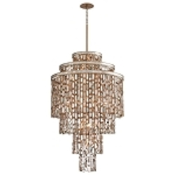 "Dolcetti Collection 19-Light 52"" Silver Pendant with Mixed Shells and Crystal 142-719"