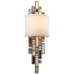 "Dolcetti Collection 1-Light 18"" Shaded Silver Wall Sconce with Mixed Shells and Crystal 150-11"