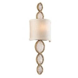 "Fame & Fortune 1-Light 20"" Silver Leaf Brazilian Rock Crystal Wall Sconce with Ivory Shade 167-11"