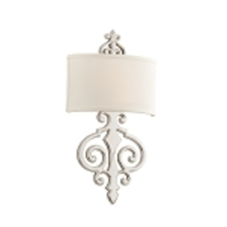 "Libertine 2-Light 22"" Polished Nickel Wall Sconce with Linen Shade 169-12"