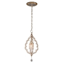 "Bijoux Collection 1-Light 24"" Silver Leaf with Antique Mist Crystal Mini Pendant 161-41"