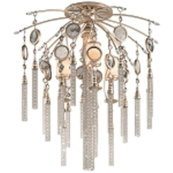 "Bliss Collection 7-Light 28"" Topaz Leaf Semi-Flush Mount with White Pearl Glass, Brazilian Rock Crystal, and Tassels 162-37"