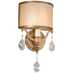 "Roma Collection 1-Light 8"" Antique Roman Silver Wall Sconce with Cream Ice Glass and Crystal Accents 71-11"
