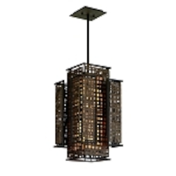 "Shoji Collection 2-Light 19"" Bonsai Bronze Pendant with Textured Pearl Diffuser 105-42"