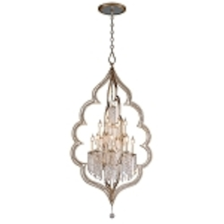 "Bijoux Collection 12-Light 63"" Silver Leaf with Antique Mist Crystal Entry Chandelier 161-412"