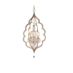 "Bijoux Collection 8-Light 55"" Silver Leaf with Antique Mist Crystal Chandelier 161-48"