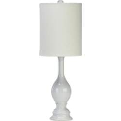 "Vase 1-Light 25"" White Table Lamp with White Shade with Silver Lining 02089"