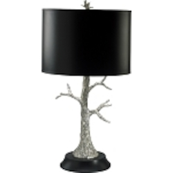 "Silver Tree 2-Light 30"" Silver Leaf & Black Table Lamp with Black Shade 02097"