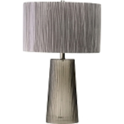 "Club Collection 1-Light 25"" Smoked Gray Glass Table Lamp with Organza Satin Shade 04124"