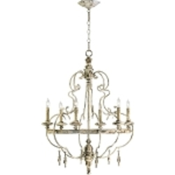 "Davinci 6-Light 35"" Persian White Wrought Iron Chandelier with Wood Details 04160"
