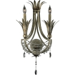 "Luciana 2-Light 24"" St.Regis Bronze Wrought Iron Wall Sconce with Crystals 5213-2-33"