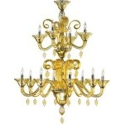 "Treviso 12-Light 42"" Amber Murano Style Glass Chandelier with Chrome Accents 6493-12-14"