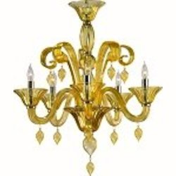 "Treviso 5-Light 26"" Amber Murano Style Glass Chandelier with Chrome Accents 6493-5-14"