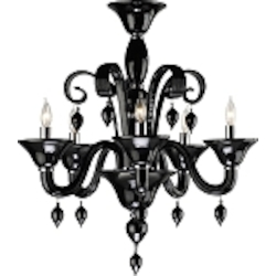 "Treviso 5-Light 26"" Black Murano Style Glass Chandelier with Chrome Accents 6494-5-14"