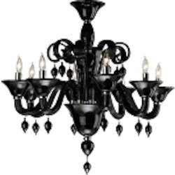 "Treviso 8-Light 29"" Black Murano Style Glass Chandelier with Chrome Accents 6494-8-14"