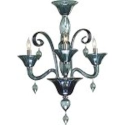 "Treviso 3-Light 26"" Indigo Murano Style Glass Mini Chandelier with Chrome Accents 6495-3-14"