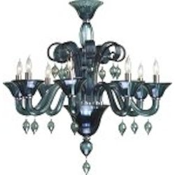 "Treviso 8-Light 29"" Indigo Murano Style Glass Chandelier with Chrome Accents 6495-8-14"