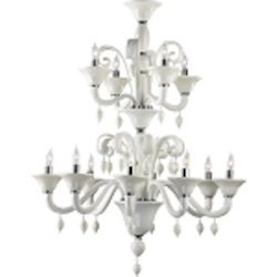 "Treviso 12-Light 42"" White Murano Style Glass Chandelier with Chrome Accents 6496-12-14"