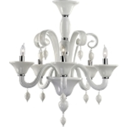 "Treviso 5-Light 26"" White Murano Style Glass Chandelier with Chrome Accents 6496-5-14"