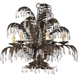"Largo 6-Light 33"" Golden Antique Wrought Iron Chandelier with Crystal Accents 6507-6-17"