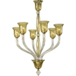"Vetrai 6-Light 44"" Clear and Amber Murano Style Glass Chandelier 6509-6-00"