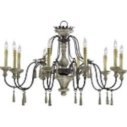 "Provence 10-Light 36"" Carriage House Wrought Iron and Resin Chandeleir with Wood Accents 6513-10-43"