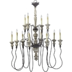 "Provence 12-Light 42"" Carriage House Wrought Iron and Resin Chandeleir 6513-12-43"