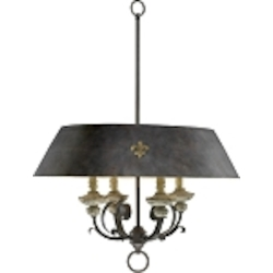 "Provence 4-Light 33"" Carriage House Wrought Iron and Resin Pendant with Wood Accents 6514-4-43"