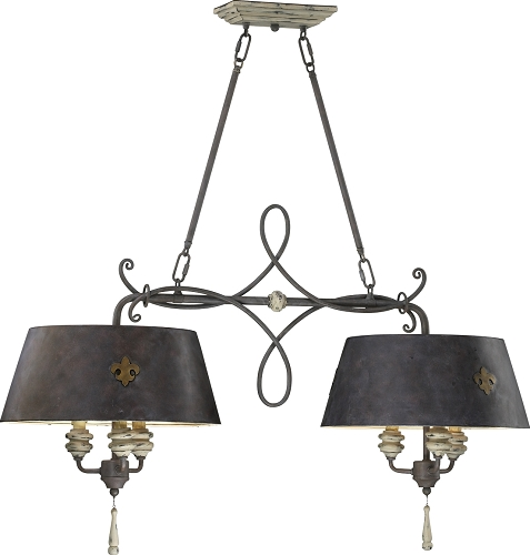 Provence 6 Light 40 Carriage House Wrought Iron And Resin