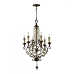 "Meriel 6-Light 38"" Antique Sienna Wrought Iron Chandelier with Wood Beads 03011"