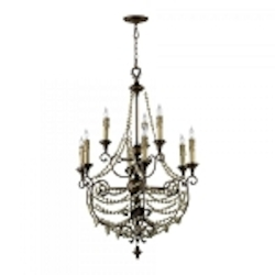 "Meriel 9-Light 45"" Antique Sienna Wrought Iron Chandelier with Wood Beads 03012"