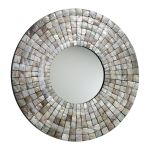 "Capiz Shell Mother of Pearl Mosaic Tile 36"" Round Mirror 02798"