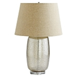 "Vista 1-Light 28"" Golden Crackle Glass Table Lamp with Linen Drum Shade 04821"