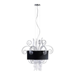 "Jellyfish 6-Light 29"" Clear Blown Glass Cassina Pendant with A Black Dupioni Shade 04393"