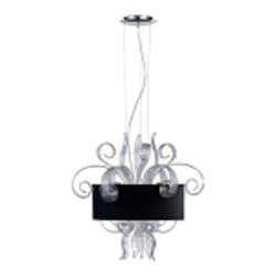 "Jellyfish 3-Light 22"" Clear Blown Glass Cassina Pendant with A Black Dupioni Shade 04392"