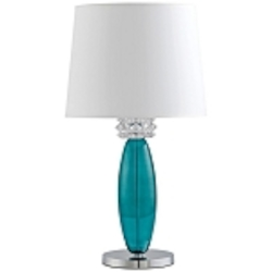 "Vivien 28"" Turquoise Glass Table Lamp with White Drum Shade 04663"