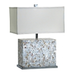 "Shell Mosaic Tile 1-Light 25"" Mother of Pearl Table Lamp 02597"