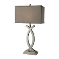 "Trendsitions Collection 1-Light 32"" Rowley Table Lamp in Polished Nickel w/ Grey Shade D1864"
