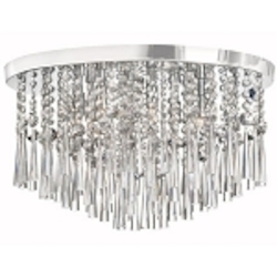 "Josephine Design 8-Light 20"" Chrome Ceiling Mount with European or 30% Lead Crystals SKU# 12059"