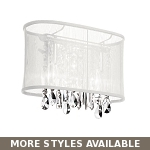 "Shaded Light Design 1-Light 8"" Chrome Crystal Wall Sconce with an Organza Shade SKU# 10588"