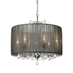 "Shaded Light Design 5-Light 20"" Crystal Mini Chandelier with Tiara Silver Gathered Pleated Organza Shade SKU# 372981"