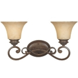 "Mendocino 2-Light 19"" Forged Sienna Bathroom Vanity Fixture with Warm Amber Glaze Glass 81802-FSN"