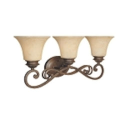"Mendocino 3-Light 24"" Forged Sienna Bathroom Vanity Fixture with Warm Amber Glaze Glass 81803-FSN"