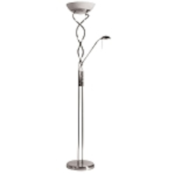 "Twist Torchiere Collection 3-Light 72"" Satin Chrome Torchiere Floor Lamp with Reading Light DLHA632-SC SKU* 528232"